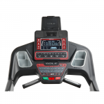 Console screen of the Sole F85 treadmill. The features includes 2 cup holders, multiple button functions, speakers, a mini fan and a tablet holder