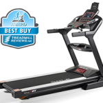 A side view angle of the Sole F85 treadmill with a best buy badge in the top left corner