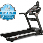 A side angle view of the Sole TT8 Treadmill with best buy badge in the top left corner