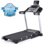 A side view angle of the Nordictrack C700 Treadmill with a best buy badge in the top left corner