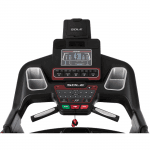 Console of the Sole S77 Treadmill. This features a digital screen, a speaker, 2 cup holders, a tablet holder and several buttons