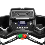 Console of the Bowflex Bowflex TC200 TreadClimber. The features include 2 cup holders, a speaker and several buttons