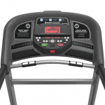 Console of the Horizon T202 Treadmill. This features a fan, a tablet holder and several buttons