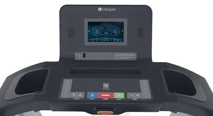 An image of the LifeSpan TR4000i console. This features 2 cup holders, several buttons, a phone charger plug in, a speaker and a digital screen